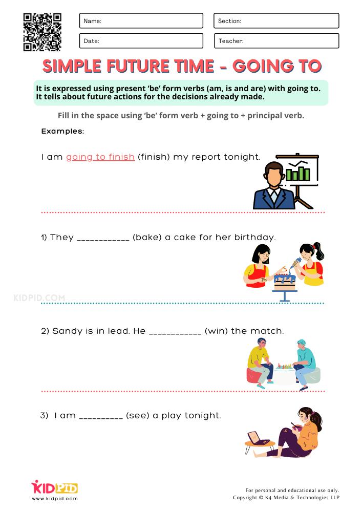 Future Tense Verbs Printable Worksheets