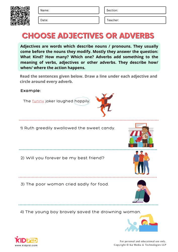 WORKSHEET 5 Choose Adjectives or Adverbs Printable Worksheets for Grade 1