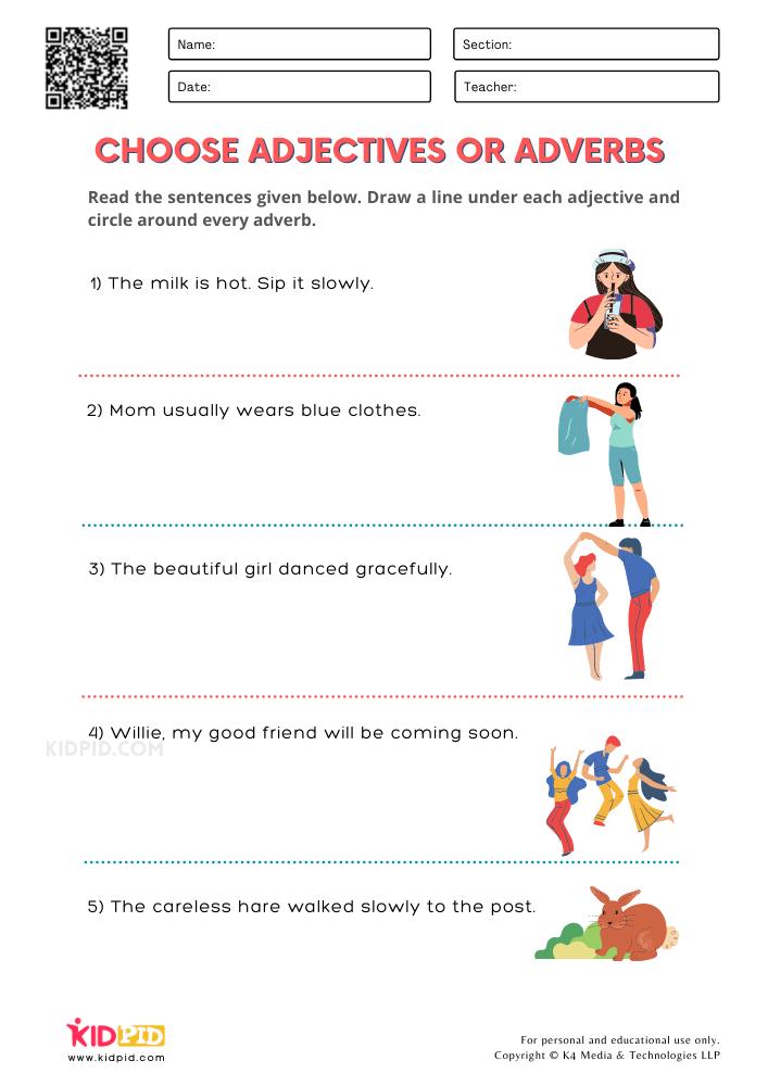 WORKSHEET 6 Choose Adjectives or Adverbs Printable Worksheets for Grade 1
