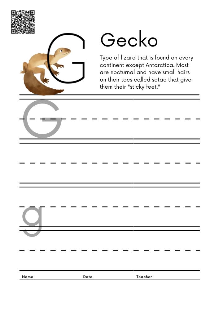 WORKSHEET 7 Animal Alphabet Letter Practice Free Printable Worksheets
