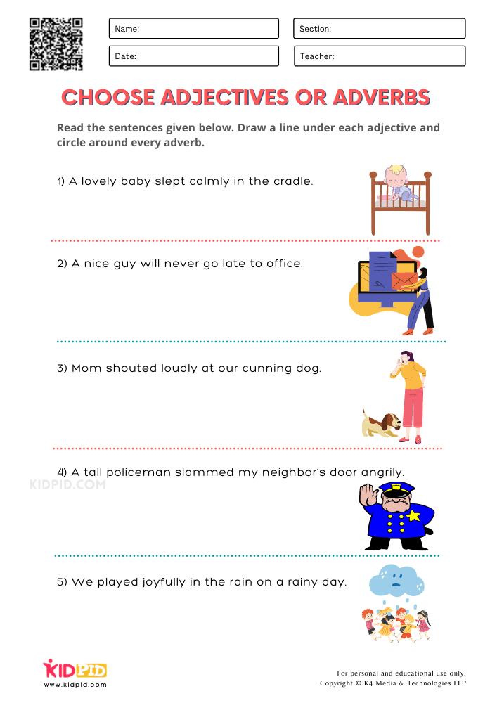 WORKSHEET 7 Choose Adjectives or Adverbs Printable Worksheets for Grade 1