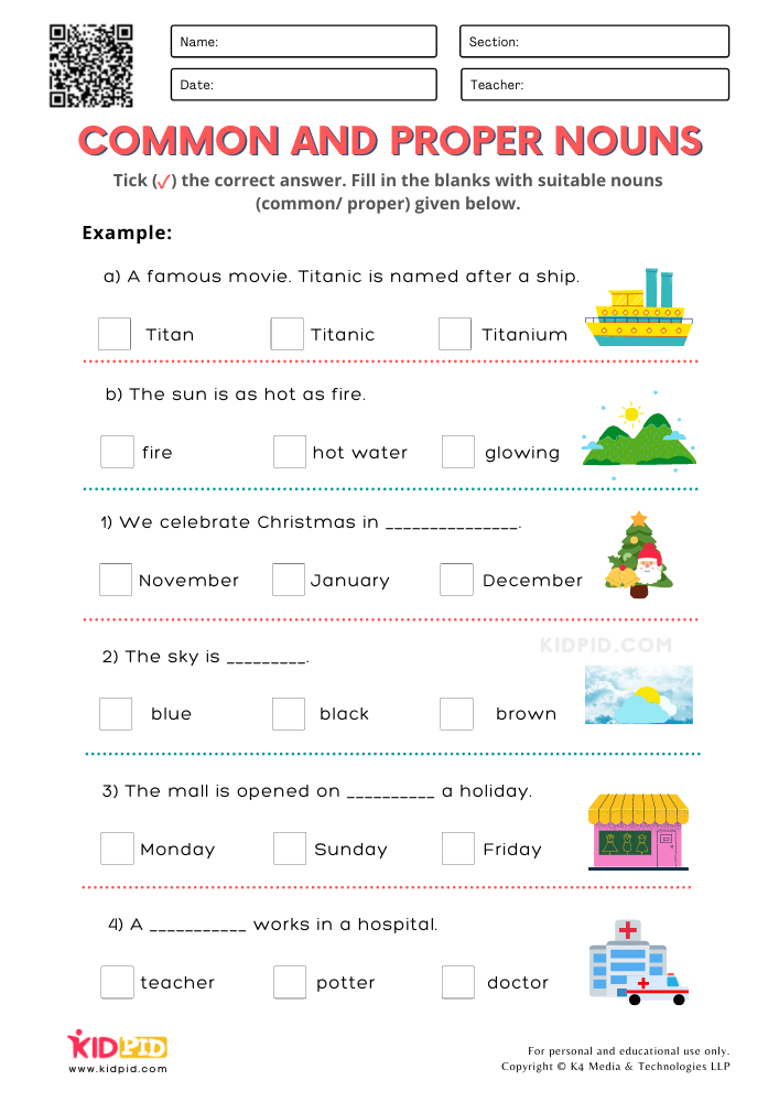 Common and Proper Nouns Printable Worksheets for Grade 2
