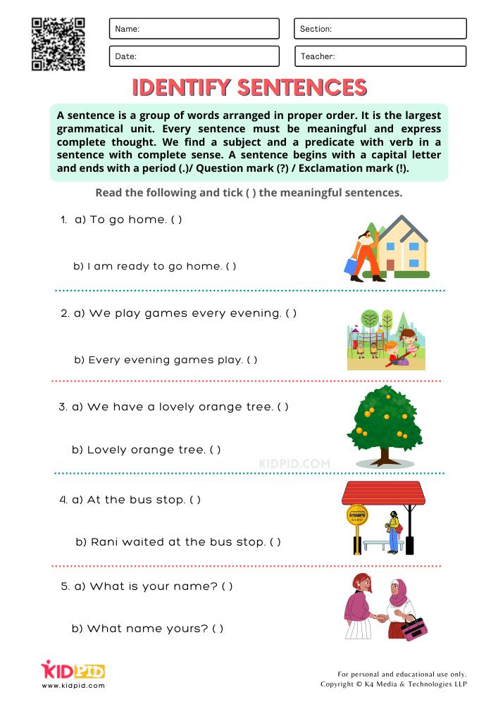 Identify Sentences Printable Worksheets for Grade 2