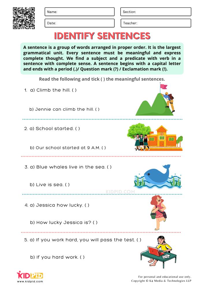 # Identify the Sentence Exercise 3